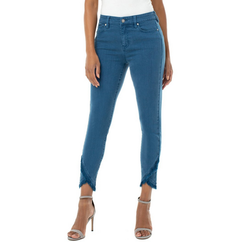 Liverpool Abby Skinny Crop with Front Scallop Hem Jean