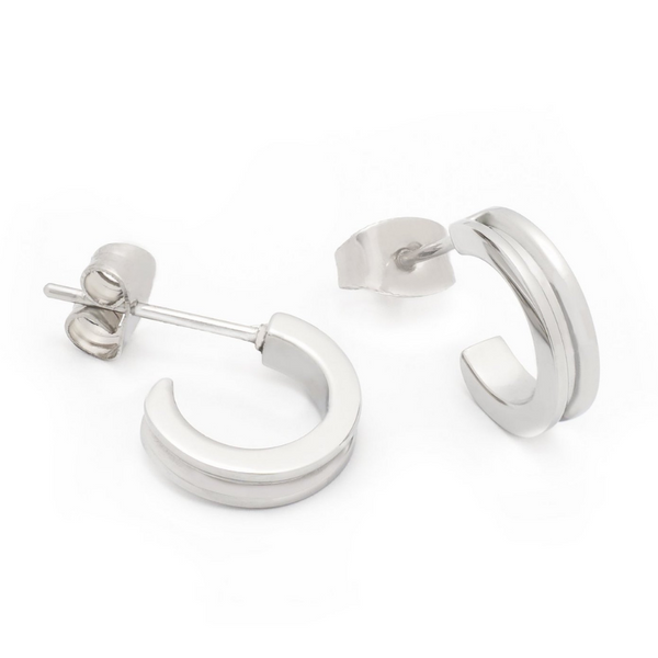 BRASS & UNITY Mini Hoops Silver | atfashion.shop