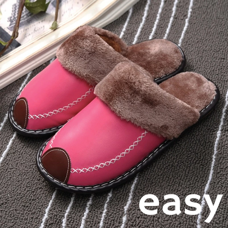 EASY Winter Warm Waterproof Leather Slipper