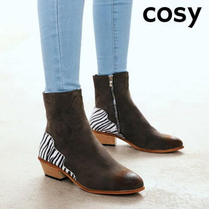 COSY Winter Warm Zebra Flock Ankle Boot