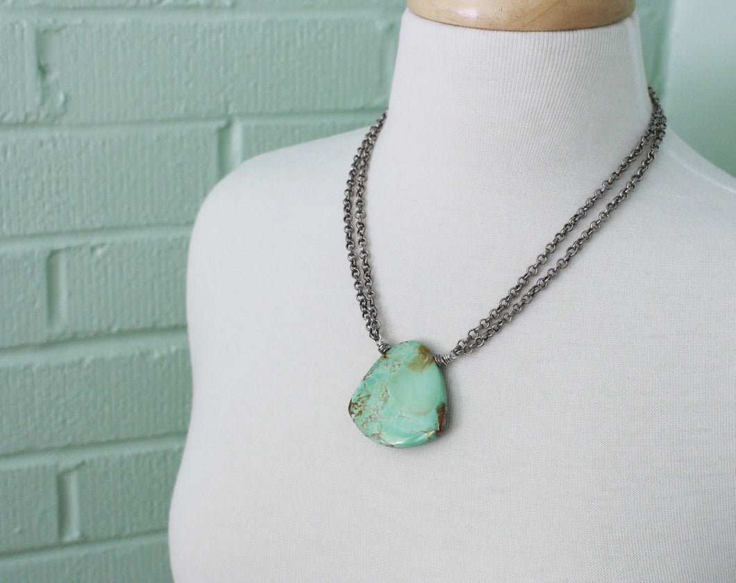 Variscite and Thai Hill Tribe Fine Silver Necklace