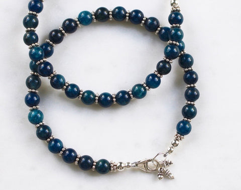 Apatite Beaded Bracelet with Sterling Silver