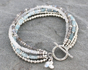 Aquamarine, moonstone, labradorite and Thai Hill Tribe fine silver beaded toggle bracelet.