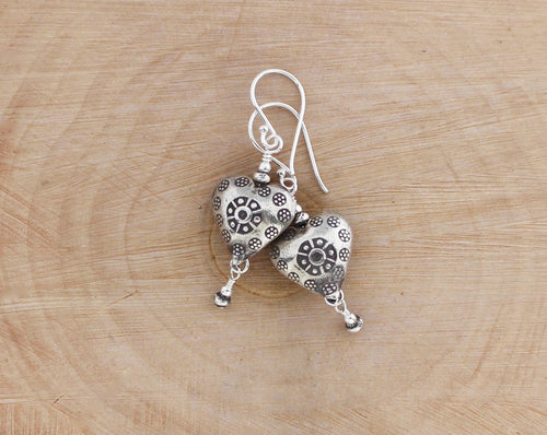 Thai Hill Tribe fine silver heart earrings.