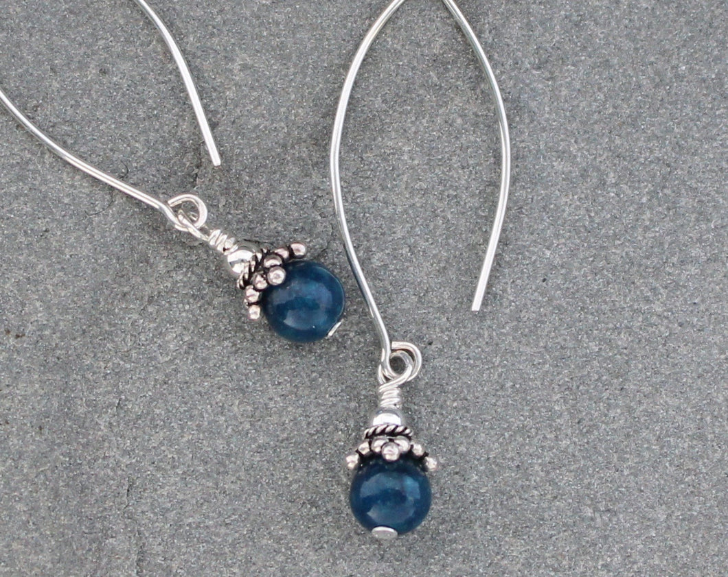 Long blue Apatite and sterling silver dangle earrings.
