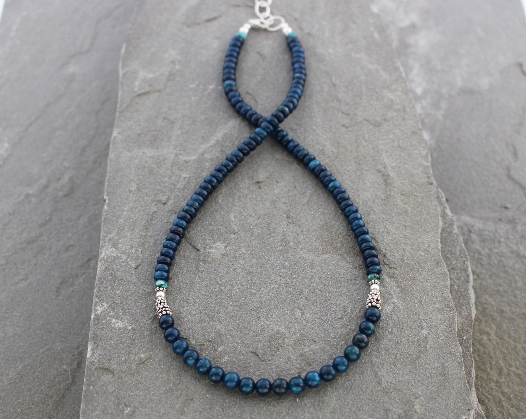 Teal blue Apatite and Turquoise beaded necklace with sterling silver.