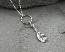Load image into Gallery viewer, Long Sterling Silver Leaf Necklace