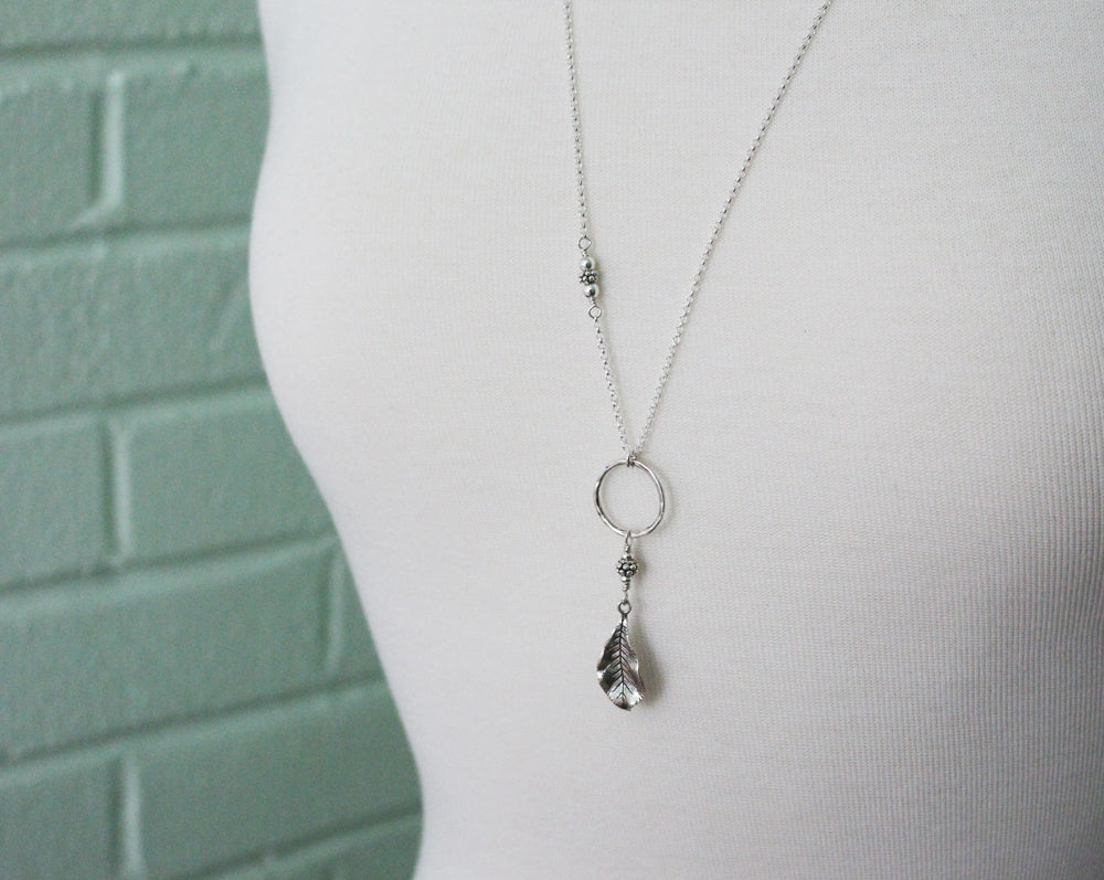 Long Sterling Silver Leaf Necklace