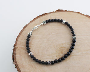 Black Onyx Bracelet with Sterling Silver