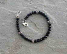 Load image into Gallery viewer, Black Onyx Bracelet with Sterling Silver