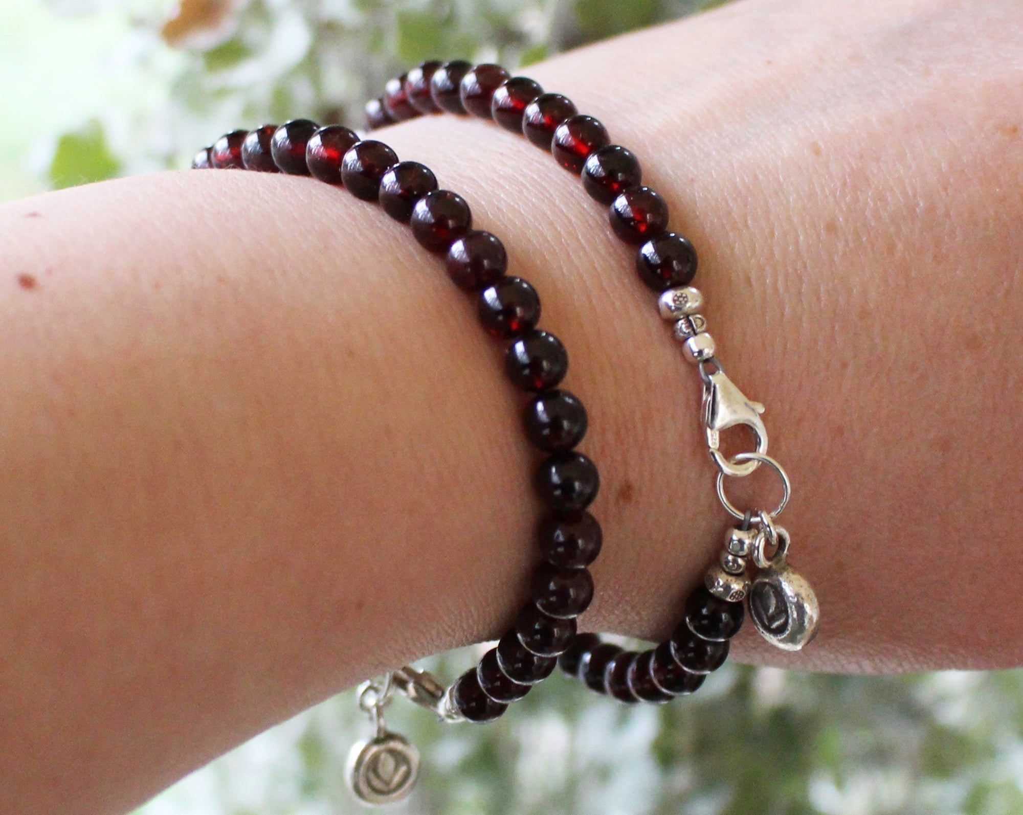 Dark Red Garnet Beaded Bracelet with Silver Flower Charm