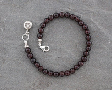 Load image into Gallery viewer, Dark Red Garnet and Silver Beaded Bracelet
