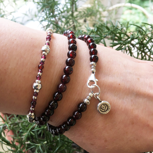 Dark Red Garnet and Silver Beaded Bracelet