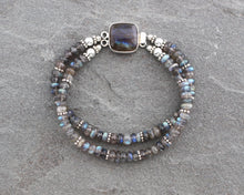 Load image into Gallery viewer, Double Strand Labradorite Beaded Bracelet