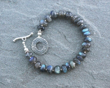 Load image into Gallery viewer, Labradorite Beaded Bracelet with Sterling Toggle
