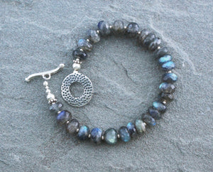 Labradorite Beaded Bracelet with Sterling Toggle