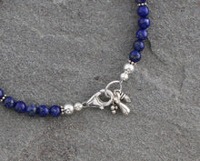 Load image into Gallery viewer, Lapis Lazuli Beaded Bracelet with Sterling Silver