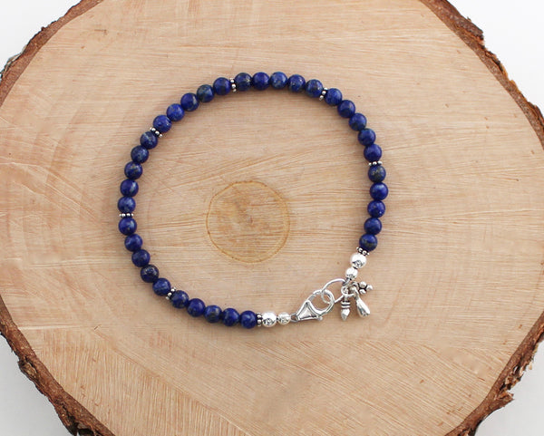 Lapis Lazuli Beaded Bracelet with Sterling Silver
