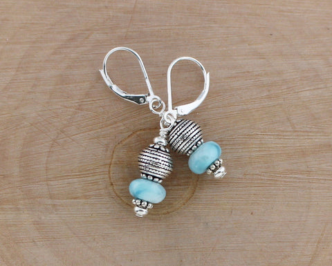 Larimar and Silver Earrings