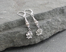 Load image into Gallery viewer, Sterling Silver Lotus Flower Earrings