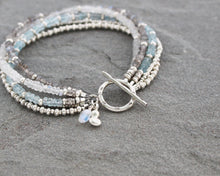 Load image into Gallery viewer, Aquamarine, Moonstone, Labradorite and Thai Silver Bracelet