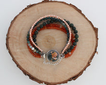 Load image into Gallery viewer, Ocean Jasper Multistrand Bracelet with Jade, Carnelian, Moss Agate and Coral