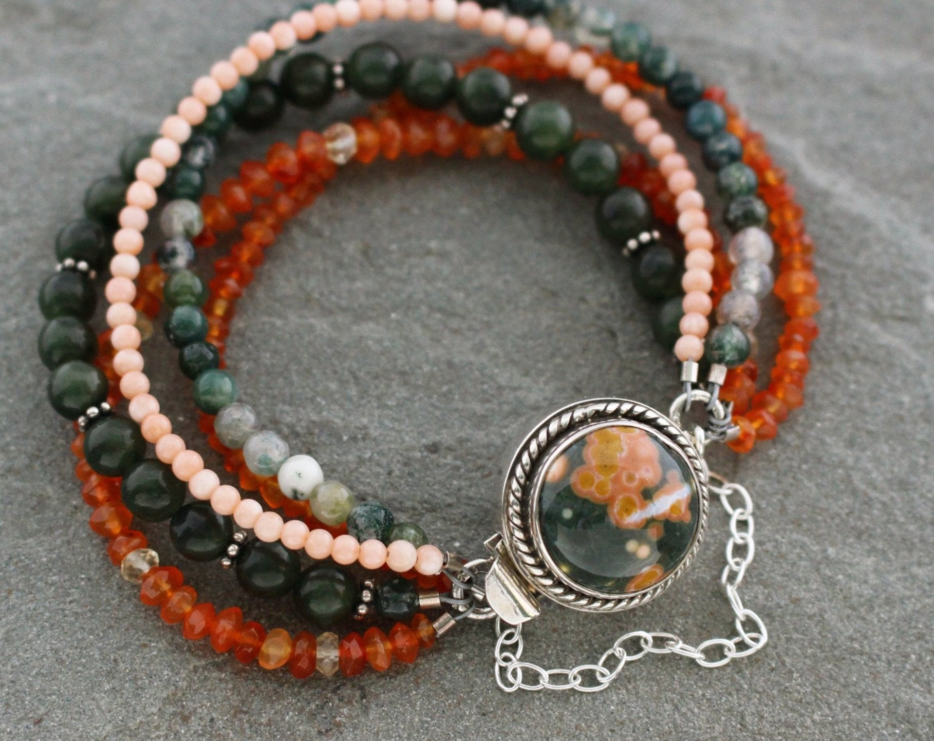 Ocean Jasper Multistrand Bracelet with Jade, Carnelian, Moss Agate and Coral