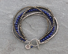 Load image into Gallery viewer, Pyrite, Lapis and Thai Silver Toggle Bracelet