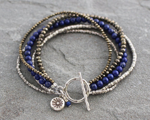 multistrand pyrite, lapis and thai silver toggle bracelet