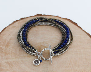 Pyrite, Lapis and Thai Silver Toggle Bracelet