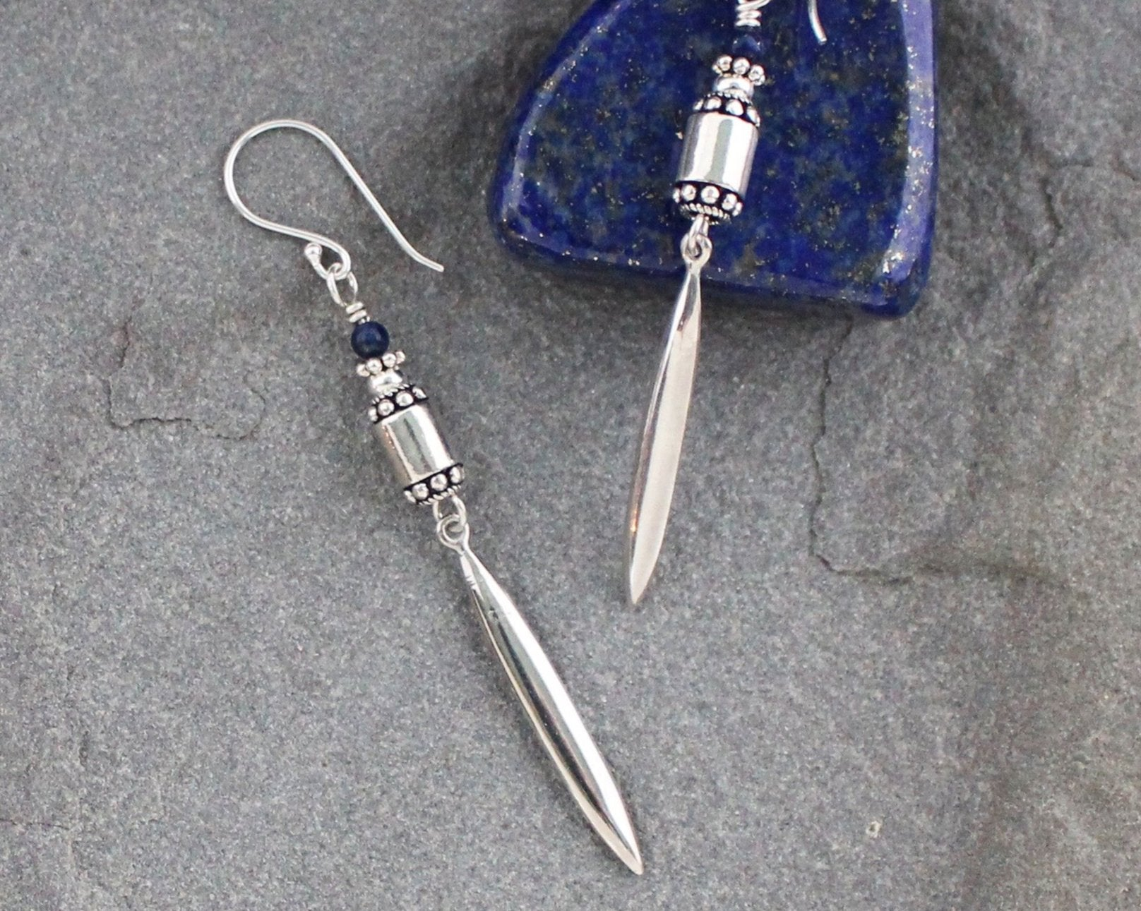 Lapis and Sterling Silver Spikes