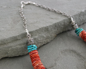 Spiny Oyster Shell and Turquoise Necklace