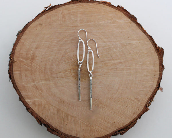 Rustic Thai Silver Hoop and Spike Earrings