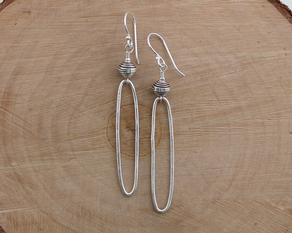 Rustic Thai Silver Oblong Hoop Earrings