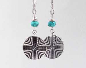Thai Hill Tribe Silver and Turquoise Earrings