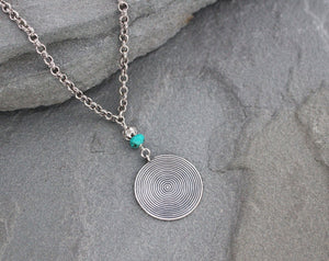 Turquoise and Thai Hill Tribe silver pendant necklace on chain.