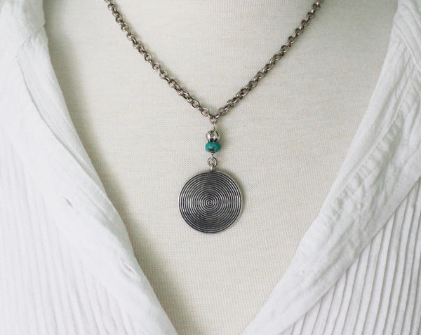 Thai Hill Tribe fine silver and turquoise necklace