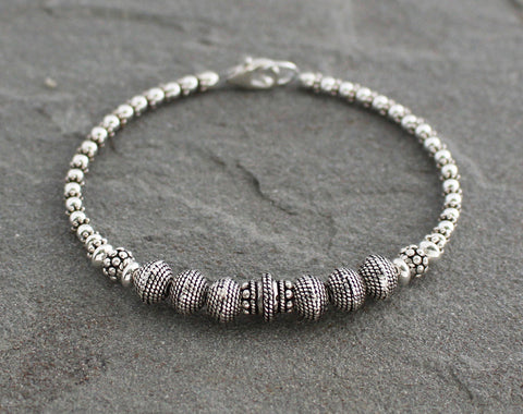 Turkish Silver Beaded Bracelet
