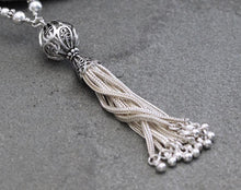 Load image into Gallery viewer, Long Sterling Silver Tassel Necklace