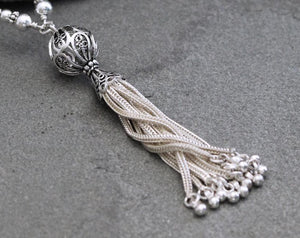 Long Sterling Silver Tassel Necklace