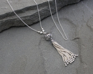 Turkish Silver Filigree Tassel Necklace