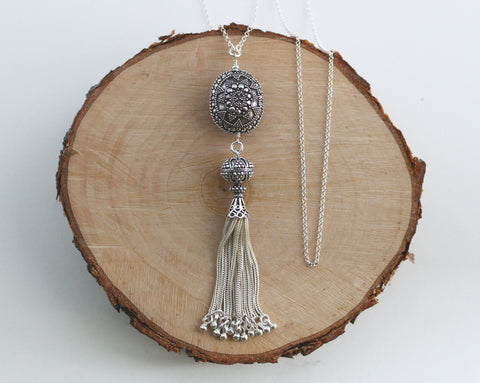 Bali and Turkish Silver Tassel Necklace