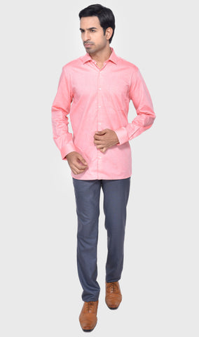 FORMAL FULL SLEEVE REGULAR FIT PEACH MEN'S SHIRT