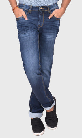 WOVEN DOBBY SLIM FIT MEN'S BLUE DENIM