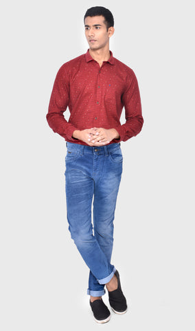 WOVEN CORDUROY SLIM FIT MEN'S BLUE DENIM
