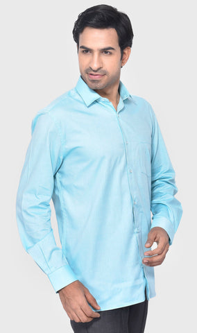 FORMAL FULL SLEEVE REGULAR FIT GREEN MEN'S SHIRT