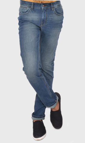 WOVEN TWILL SLIM FIT MEN'S BLUE DENIM