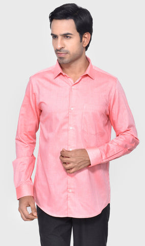 FORMAL FULL SLEEVE SLIM FIT PEACH MEN'S SHIRT