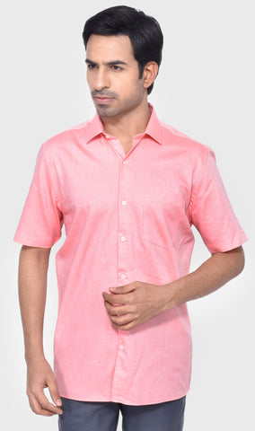 FORMAL HALF SLEEVE SLIM FIT PEACH MEN'S SHIRT