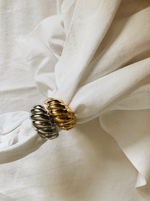 Alila sterling silver and gold plated vintage statement rings with waves pattern